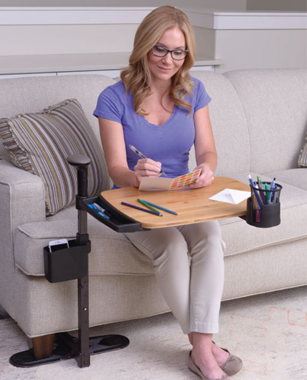 Woman with lap tray